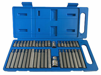 "40Pc Torx Hex Spline 1/2"" & 3/8"" Dr Star Bits Socket Set With Case - Long Reach"