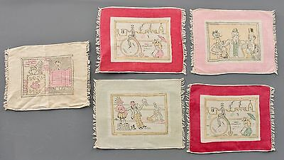 5 AUTH 1890's LINEN COCKTAIL NAPKINS MADE IN FRANCE HAND BLOCKED COLORED PRINTS