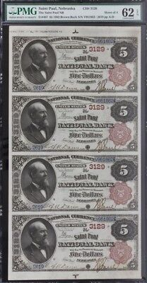 1882 $5 Brown Back Uncut Sheet - St. Paul National Bank Nebraska PMG UNC. 62 EPQ