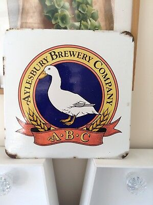 Reclaimed Vintage Aylesbury Brewing Co Enamel Sign Duck Micro Pub Brewery