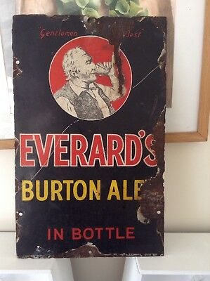 Antique Staffordshire Vintage Everards Burton Ale Micro Brewery Pub Enamel Sign