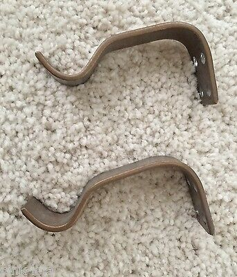 "Set of 2: ANTIQUE DRAPERY CO Bronze Basic Bracket Pair Iron 1"" W x 3.25"" L"