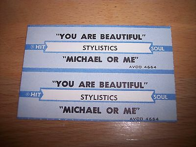 """2 Stylistics You Are Beautiful / Michael Or Me Jukebox Title Strip CD 7"""" 45RPM"""