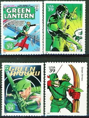 Green Lantern AND Green Arrow Set 4 MNH US Postage Stamps Scott's 4084 B D L & N
