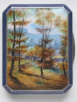 French Silver & Enamel Box Case mountain Landscape
