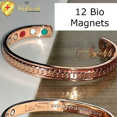 12 Bio Strong Pure Solid Copper Magnetic Bangle/cuff/bracelet Arthritis Cb21V