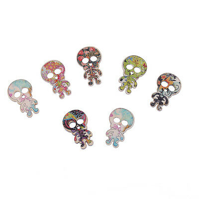 Pack of 5 Floral Skeleton Design Decorative Buttons 29mm x 19mm - Craft/Sewing