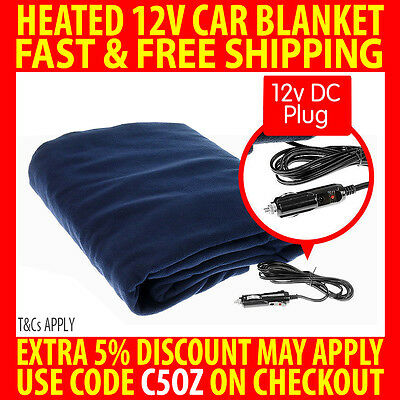 12V Heated Car Blanket Travel Soft Caravan Fleece Electric Throw 12 Volt Dc Auto