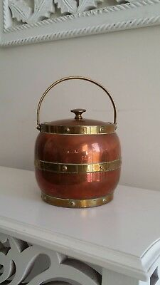 Vintage Linton Copper & Brass Tea Caddy - Made in England