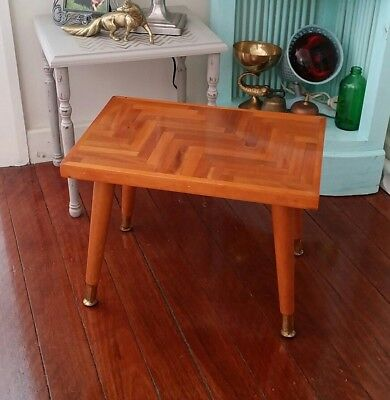 Vintage Retro Lacquered & Parquet Topped Side Table