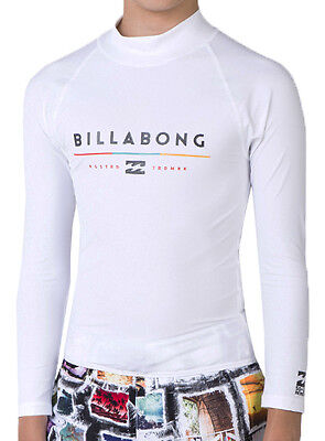 "New + Tag Billabong Boys (8) ""tri Unity"" Long Sleeve Wet Shirt Rash Vest White"