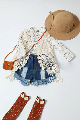 Toddler Kid Baby Girl Crochet Lace Hollow T-shirt Top Vest Tassel Waistcoat UK
