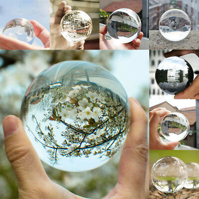 60mm Clear Round Glass Artificial Crystal Healing Ball Sphere Decoration Gift UK