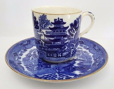 Flow Blue Willow Pattern Cup and Saucer - Mismatched - W. A. Adderley 1880s