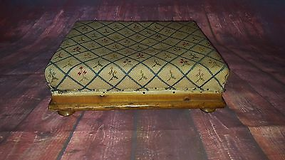 Antique Edwardian Victorian Vintage Foot Stool Wooden Ottoman Pouffe