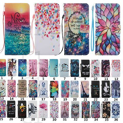 For Samsung S8/S8 Plus Patterned Leather Card Wallet Strap Flip Stand Case Cover