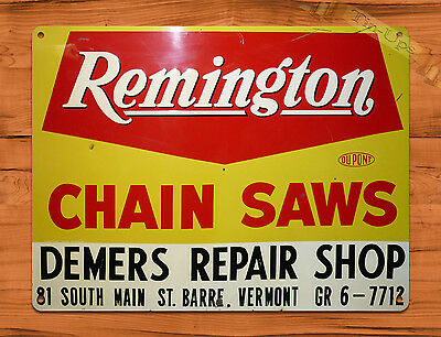 "TIN-UPS TIN SIGN ""Remington Chain Saws Repair"" Garage Tool Rustic Wall Decor"