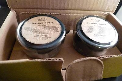 NEW Longaberger Mini Candle 2 pack Evergreen Orange NEW Christmas 71531