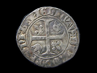 """Silver Blanc of French king Charles VI """"The Mad"""" 1380-1422 AD, CC7049"""