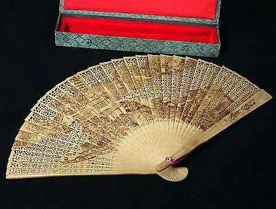 Vintage Japan Carved Wood Folding Fan With Presentation Box Town Scene