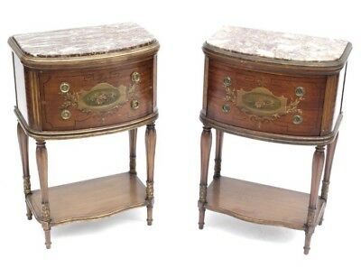Pr. Antique Adams Style Painted Marble Top Louis XVI COMMODES Chest Night Stands