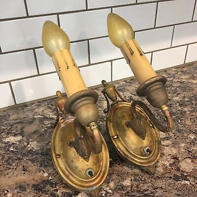 Matched Wired Pair Antique Brass Wall Sconce Fixtures Lights Light Lighting 3A