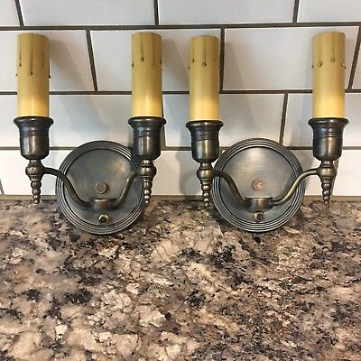 Matched Wired Pair Antique Brass Wall Sconce Fixtures Lights Light Lighting 10A