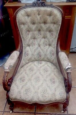 Victorian Walnut Button Back Nursing Chair Carving Original