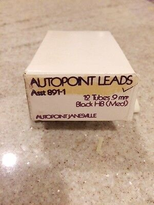 Autopoint Leads Box - 12 Individual Tubes - 9mm - Black HB (Med)
