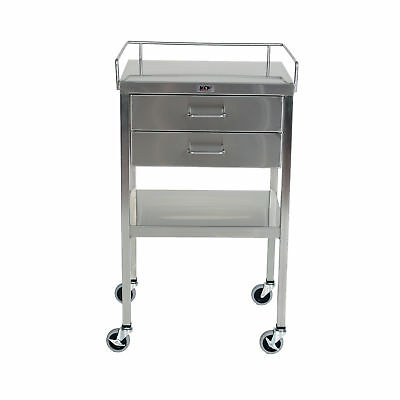 """Stainless Steel Utility Table 2 Drawers and Guardrail - 20""""W x 16""""D x 34""""H 1 ea"""