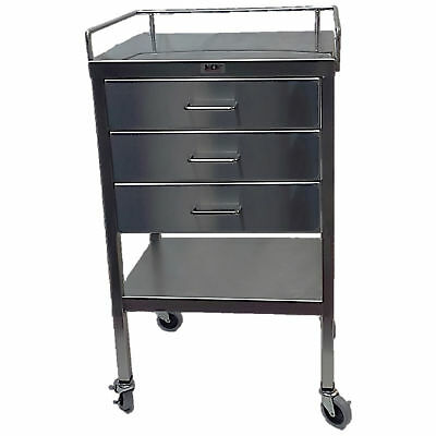 """Stainless Steel Utility Table 3 Drawers and Guardrail - 20""""W x 16""""D x 34""""H 1 ea"""