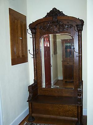 antique oak hall tree,fancy
