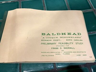 1963 North Carolina Bald Head Island feasibility study Brunswick county, NC rare