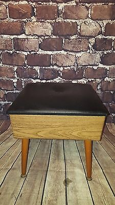 vintage retro sherbourne sewing box stool seat 1960's 1970's vinyl bedroom