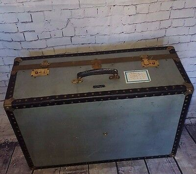 Mossman Vintage Mid Century Metal Shipping Steamer Trunk Coffee Table Storage
