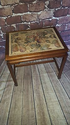 Antique Vintage Old Solid Wooden Piano Stool Seat Chair Floral tapestry ornate