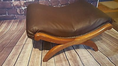 Antique Vintage Wooden Oak X Frame Stool Seat Foot Stool Rest Chesterfield