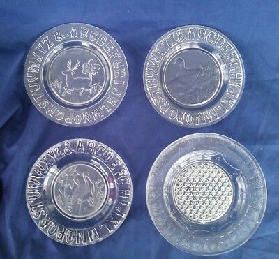 4 Child's Victorian Pressed Glass Alphabet Plates, Deer, Duck, Crane, Gillinder?