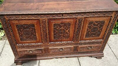Antique 18Th Century Solid Carved Oak Mule Chest Coffer Blanket Box
