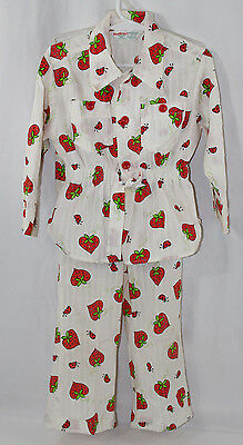 Girls Vintage Health Tex 2 Piece Pant Set Ladybugs Strawberries Size 4T 70s 80s