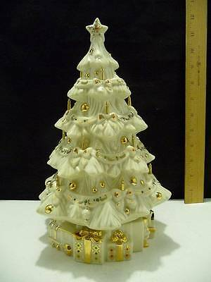 """Lenox Musical Jeweled Christmas Tree Ivory with Gold Accents 10 1/2"""" Tall"""
