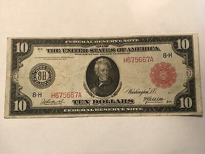 FR. 899b 1914 $10 Red Seal Large Size Federal Reserve Note St. Louis ((VF++))