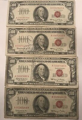 ((4)) 1966 $100 Red Seal Small Size Legal Tender Notes ((LOOK))