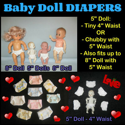 """5"""" to 8"""" Baby Doll DIAPERS with 4"""" OR 5"""" Waist Handmade by the Crafty Grandmas"""