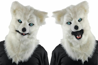 Animated Animal White Wolf Plastic Face Mask With Moveable Jaw Halloween