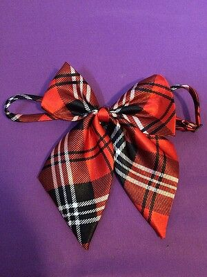 Adjustable Red and Black Plaid School Uniform Neck Tie Bow with Back Clasp
