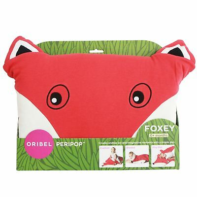 Oribel Peripop 3 In 1 Cotton Blanket, Cushion & Playmat With Hand Muffs - Foxey