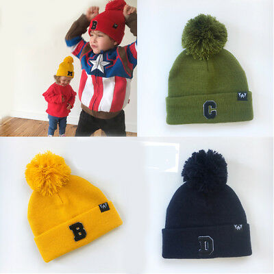 Kids Baby Knit Beanie Girl Boy Hat Toddler Infant Kid Newborn Letter Beanies