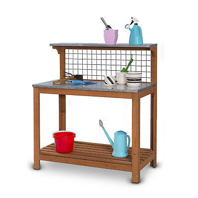 2 Tiers Wooden Garden Potting Working Planter Bench Table With Top Shelf and Net