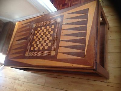 Vintage Chess Table Solid Wood Games Table